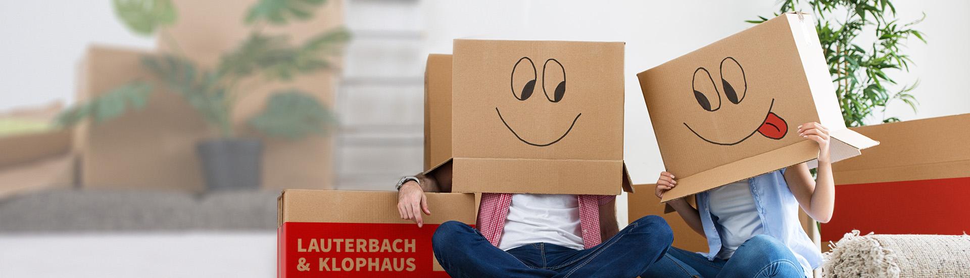Umzugskarton mit Smileys