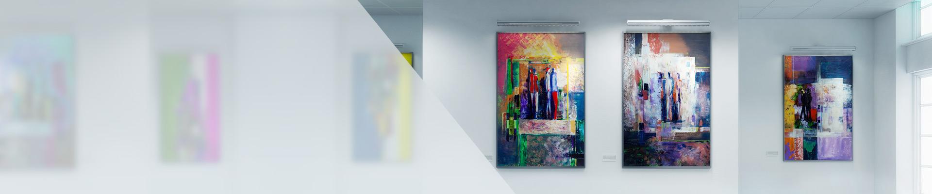 Bunte Kunstgemälde an der Wand